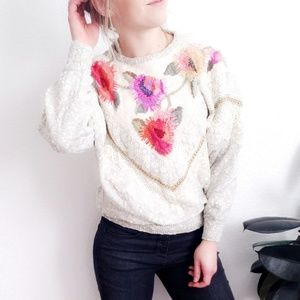 80-90s Vintage Cozy Knit Floral Lace Sweater 674